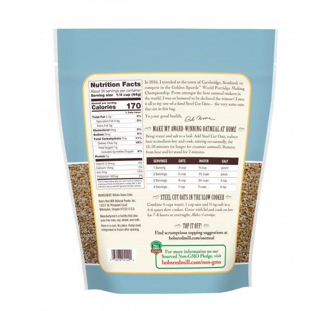 Bobs Red Mill Steel Cut Oats Cereals Necos Natural Store